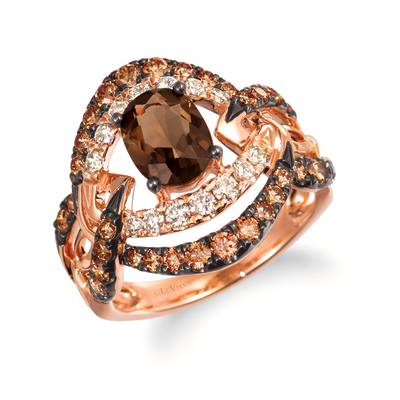 14K Strawberry Gold® Chocolate Quartz® 7/8 cts. Ring with Chocolate Diamonds® 5/8 cts., Nude Diamonds™ 1/3 cts. | WAUV 10
