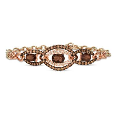 Chocolate Quartz® 2 cts. Adjbraclt with Chocolate Diamonds® 1  1/5 cts., Nude Diamonds™ 1/3 cts. | WAUV 12