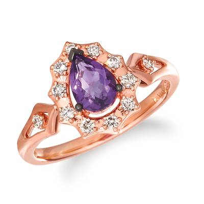 14K Strawberry Gold® Grape Amethyst™ 1/2 cts. Ring with Nude Diamonds 1/5 cts. | WAUV 27