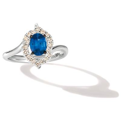14K Vanilla Gold® Cornflower Ceylon Sapphire™ 3/4 cts. Pendant with Nude Diamonds™ 1/3 cts. | WAVC 11