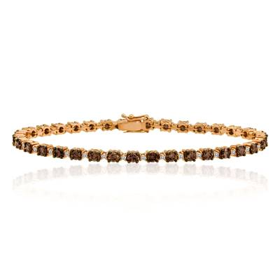 14K Strawberry Gold® Bracelet with Chocolate Diamonds® 3  1/2 cts., Vanilla Diamonds® 1/2 cts. | WICR 1