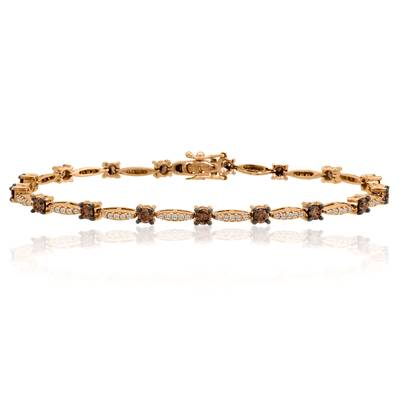 14K Strawberry Gold® Bracelet with Chocolate Diamonds® 1  7/8 cts., Vanilla Diamonds® 1/2 cts. | WICR 7