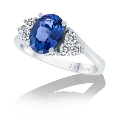 14K Vanilla Gold® Blueberry Tanzanite® 1  3/8 cts. Ring with Vanilla Diamonds® 3/8 cts. | WIDF 1