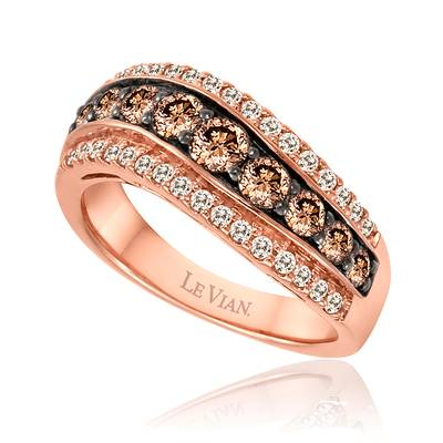 14K Strawberry Gold® Ring with Chocolate Diamonds® 7/8 cts., Vanilla Diamonds® 1/3 cts. | WIDY 63