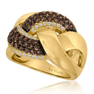 14K Honey Gold™ Ring with Chocolate Diamonds® 7/8 cts., Vanilla Diamonds® 1/3 cts. | WIEX 2