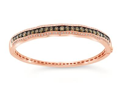 14K Strawberry Gold® Bangle with Chocolate Diamonds® 3 cts., Vanilla Diamonds® 5/8 cts. | WIGB 10
