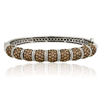 14K Honey Gold™ Bangle with Chocolate Diamonds® 6  3/8 cts., Vanilla Diamonds® 5/8 cts. | WIGB 4