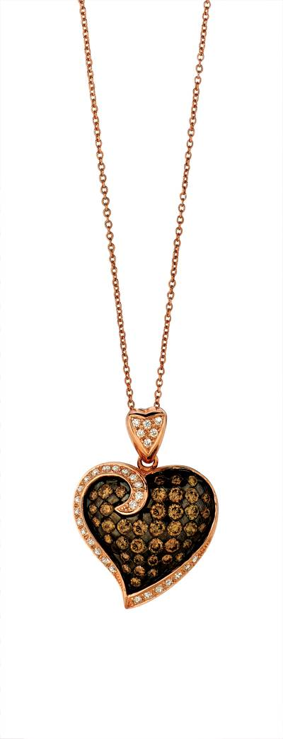14K Strawberry Gold® Pendant with Vanilla Diamonds® 1/4 cts., Chocolate Diamonds® 1 cts. | WIGH 3
