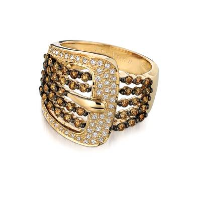 14K Honey Gold™ Ring with Chocolate Diamonds® 7/8 cts., Vanilla Diamonds® 1/4 cts. | WIGO 1