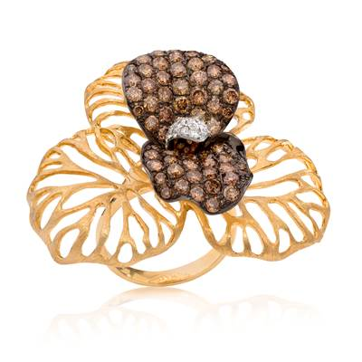 14K Honey Gold™ Ring with Chocolate Diamonds® 2  7/8 cts., Vanilla Diamonds® 1/2 cts. | WIGO 3