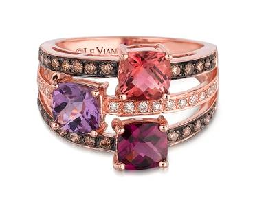14K Strawberry Gold® Raspberry Rhodolite® 7/8 cts., Passion Fruit Tourmaline™ 7/8 cts., Grape Amethyst™ 3/4 cts. Ring with Chocolate Diamonds® 1/3 cts., Vanilla Diamonds® 1/10 cts. | WIGV 1