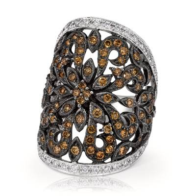 14K Vanilla Gold® Ring with Chocolate Diamonds® 1  1/2 cts., Vanilla Diamonds® 3/8 cts. | WIHF 6