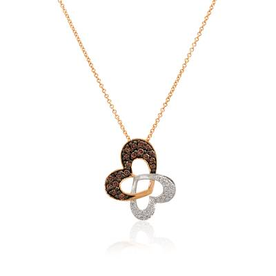 14K Two Tone Gold Pendant with Chocolate Diamonds® 1/4 cts., Vanilla Diamonds® 1/20 cts. | WIHM 2
