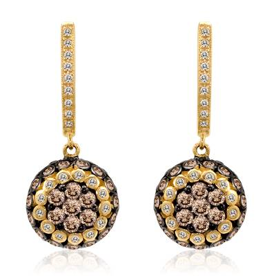 14K Honey Gold™ Earrings with Chocolate Diamonds® 1  1/2 cts., Vanilla Diamonds® 1/5 cts. | WIHQ 3