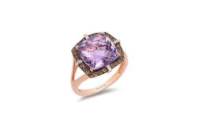 14K Strawberry Gold® Grape Amethyst™ 4  1/2 cts. Ring with Chocolate Diamonds® 1/4 cts., Vanilla Diamonds®  cts. | WIIR 1