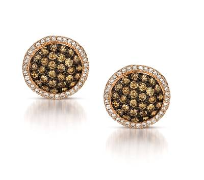 14K Honey Gold™ Earrings with Chocolate Diamonds® 1 cts., Vanilla Diamonds® 1/4 cts. | WIIX 1