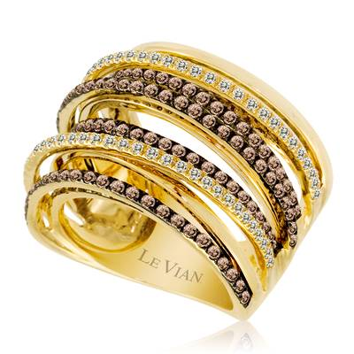 14K Honey Gold™ Ring with Chocolate Diamonds® 1  1/3 cts., Vanilla Diamonds® 3/8 cts. | WIKA 170