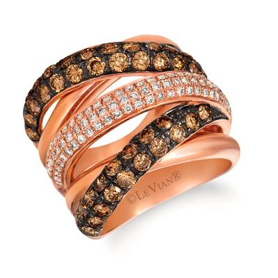 14K Strawberry Gold® Ring with Chocolate Diamonds® 2  1/5 cts., Vanilla Diamonds® 1/2 cts. | WIKA 19