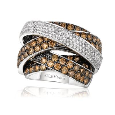 14K Vanilla Gold® Ring with Chocolate Diamonds® 5  5/8 cts., Vanilla Diamonds® 7/8 cts. | WIKA 25