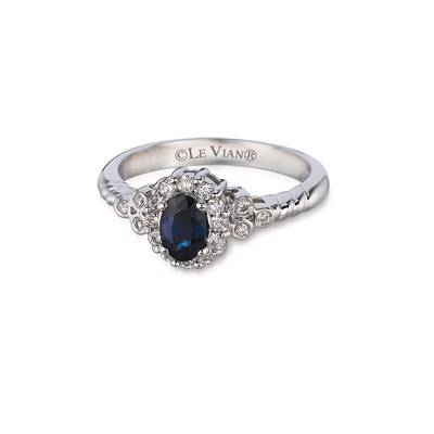 14K Vanilla Gold® Blueberry Sapphire™ 1/2 cts. Ring with Vanilla Diamonds® 1/4 cts. | WIKI 6