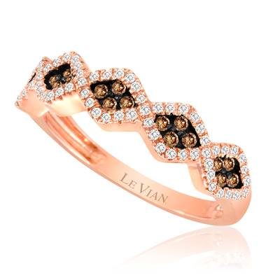14K Strawberry Gold® Ring with Chocolate Diamonds® 1/5 cts., Vanilla Diamonds® 1/5 cts. | WIKU 2
