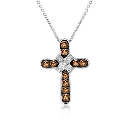 14K Vanilla Gold® Pendant with Chocolate Diamonds® 1/3 cts., Vanilla Diamonds®  cts. | WIOG 6