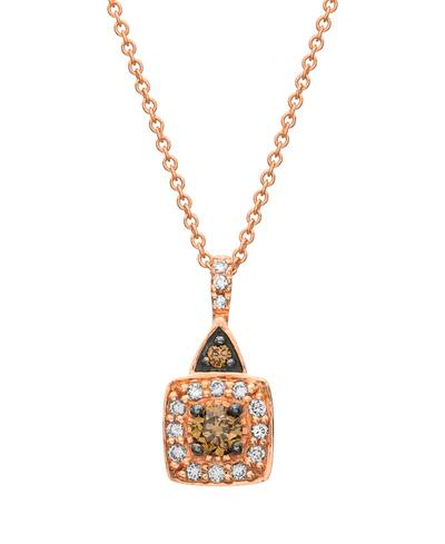 14K Strawberry Gold® Pendant with Chocolate Diamonds® 1/6 cts., Vanilla Diamonds® 1/10 cts. | WIPI 249