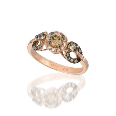 14K Strawberry Gold® Ring with Chocolate Diamonds® 3/4 cts., Vanilla Diamonds® 1/10 cts. | WIQO 1A