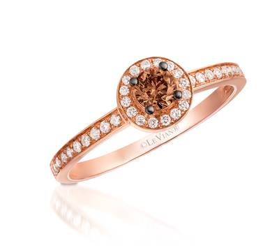 14K Strawberry Gold® Ring with Chocolate Diamonds® 1/4 cts., Vanilla Diamonds® 1/6 cts. | WIQT 1