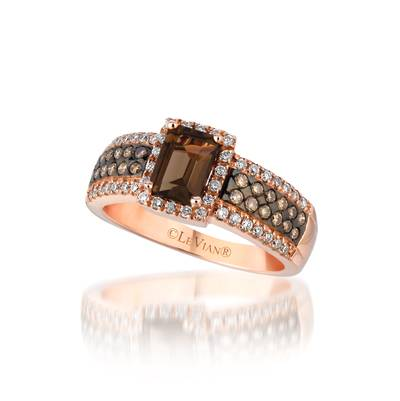 14K Strawberry Gold® Chocolate Quartz® 7/8 cts. Ring with Chocolate Diamonds® 1/4 cts., Vanilla Diamonds® 1/4 cts. | WIRS 1