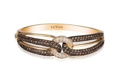 14K Honey Gold™ Bangle with Chocolate Diamonds® 6 cts., Vanilla Diamonds® 1 cts. | WIUB 21