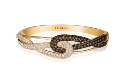 14K Honey Gold™ Bangle with Vanilla Diamonds® 2  1/3 cts., Chocolate Diamonds® 3  1/8 cts. | WIUN 4