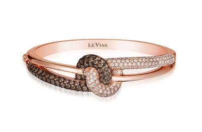 14K Strawberry Gold® Bangle with Chocolate Diamonds® 3 cts., Vanilla Diamonds® 2  1/4 cts. | WIUN 8