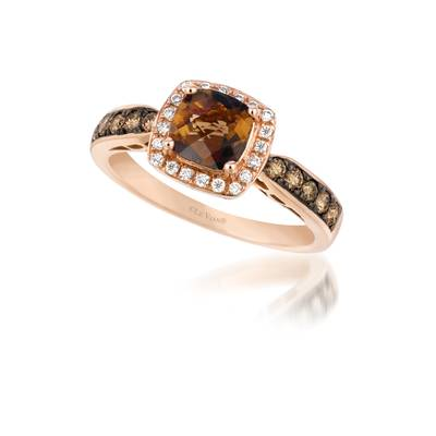 14K Strawberry Gold® Chocolate Quartz® 7/8 cts. Ring with Chocolate Diamonds® 1/3 cts., Vanilla Diamonds® 1/10 cts. | WIVI 209