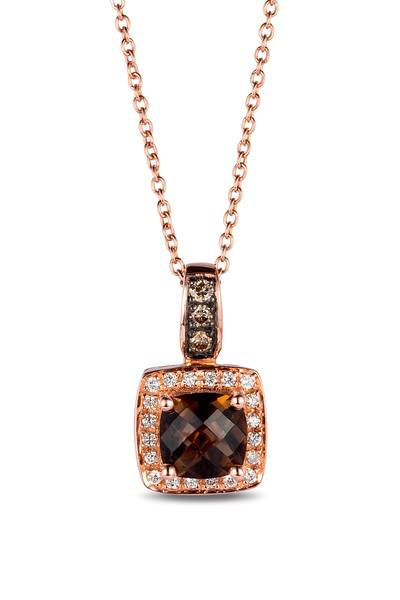 14K Strawberry Gold® Chocolate Quartz® 7/8 cts. Pendant with Chocolate Diamonds® 1/20 cts., Vanilla Diamonds® 1/10 cts. | WIVI 211