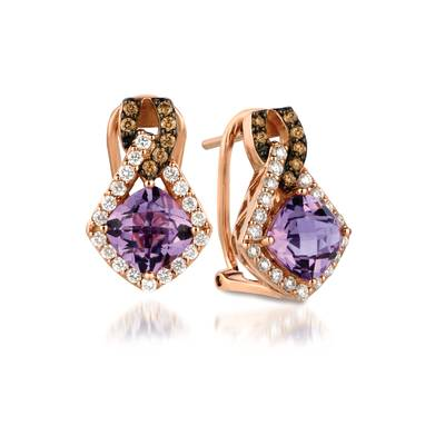 14K Strawberry Gold® Grape Amethyst™ 2  3/8 cts. Earrings with Vanilla Diamonds® 1/2 cts., Chocolate Diamonds® 1/6 cts. | WIVP 318