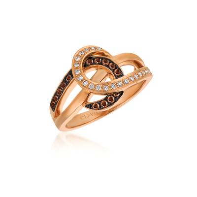 14K Strawberry Gold® Ring with Chocolate Diamonds® 1/6 cts., Vanilla Diamonds® 1/8 cts. | WIVR 1
