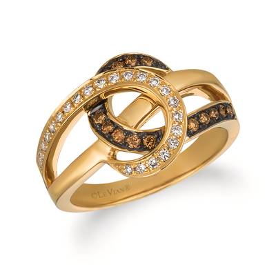 14K Honey Gold™ Ring with Chocolate Diamonds® 1/6 cts., Vanilla Diamonds® 1/8 cts. | WIVR 2