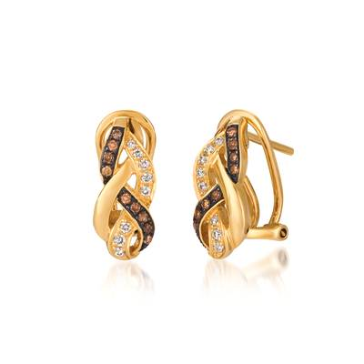 14K Honey Gold™ Earrings with Vanilla Diamonds® 1/8 cts., Chocolate Diamonds® 1/8 cts. | WIVR 32