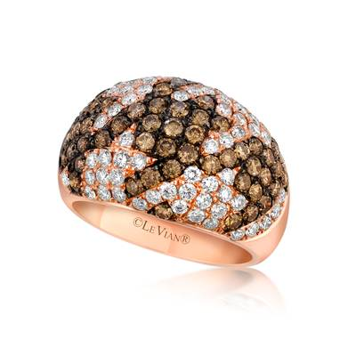 14K Strawberry Gold® Ring with Chocolate Diamonds® 1  3/8 cts., Vanilla Diamonds® 1 cts. | WIVT 25
