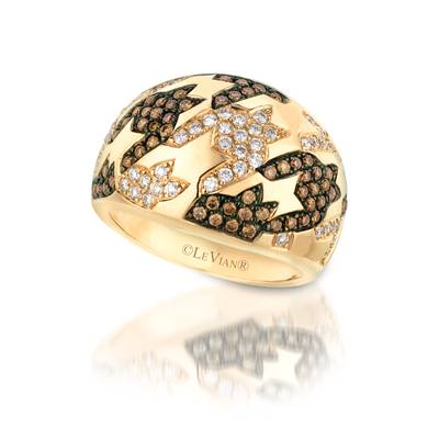14K Honey Gold™ Ring with Chocolate Diamonds® 1/2 cts., Vanilla Diamonds® 3/8 cts. | WIVT 38