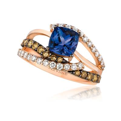 14K Strawberry Gold® Blueberry Tanzanite® 1  3/8 cts. Ring with Chocolate Diamonds® 3/8 cts., Vanilla Diamonds® 3/8 cts. | WIVW 134