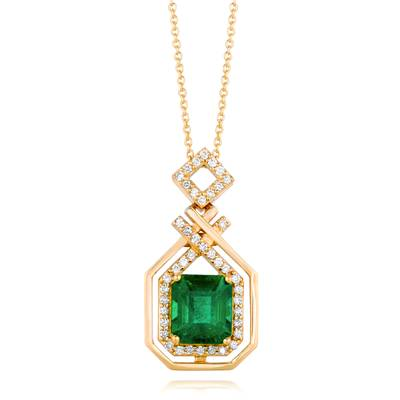 18K Honey Gold™ Costa Smeralda Emeralds™ 3  1/2 cts. Pendant with Vanilla Diamonds® 1/3 cts. | WIVX 29