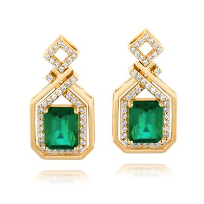 18K Honey Gold™ Costa Smeralda Emeralds™ 3  5/8 cts. Earrings with Vanilla Diamonds® 1/2 cts. | WIVX 30