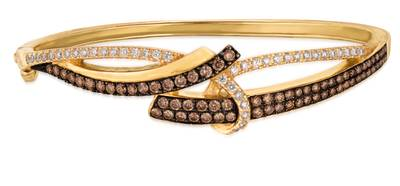 14K Honey Gold™ Bangle with Chocolate Diamonds® 1  5/8 cts., Vanilla Diamonds® 5/8 cts. | WIXI 11