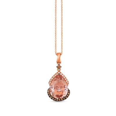 14K Strawberry Gold® Peach Morganite™ 5  3/8 cts. Pendant with Chocolate Diamonds® 1/5 cts., Vanilla Diamonds® 1/8 cts. | WIXS 3