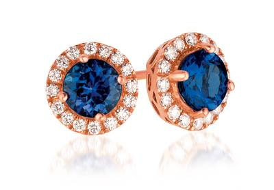 14K Strawberry Gold® Blueberry Tanzanite® 2  3/8 cts. Earrings with Vanilla Diamonds® 1/2 cts. | WIXW 3