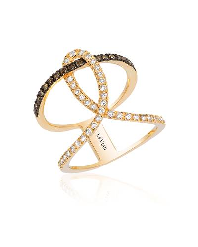 14K Honey Gold™ Ring with Chocolate Diamonds® 1/5 cts., Vanilla Diamonds® 3/8 cts. | WIXY 18
