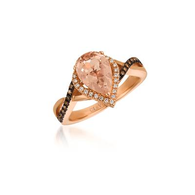 14K Strawberry Gold® Peach Morganite™ 1  1/3 cts. Ring with Chocolate Diamonds® 1/6 cts., Vanilla Diamonds® 1/10 cts. | WIXY 36