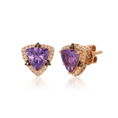 14K Strawberry Gold® Grape Amethyst™ 2  1/3 cts. Earrings with Chocolate Diamonds® 1/10 cts., Vanilla Diamonds® 1/5 cts. | WIXY 37